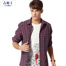 占姆士格子长袖衬衫中青年男士纯棉磨毛商务休闲衬衣