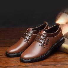 米斯康男棉鞋新款商务休闲棉鞋真皮系带保暖加绒低帮鞋正品包邮985